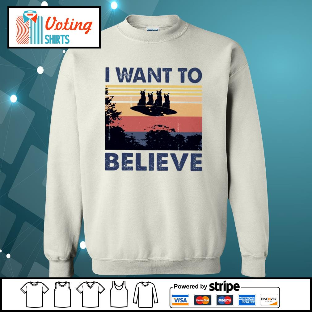 Cats UFO I want to believe vintage s sweater