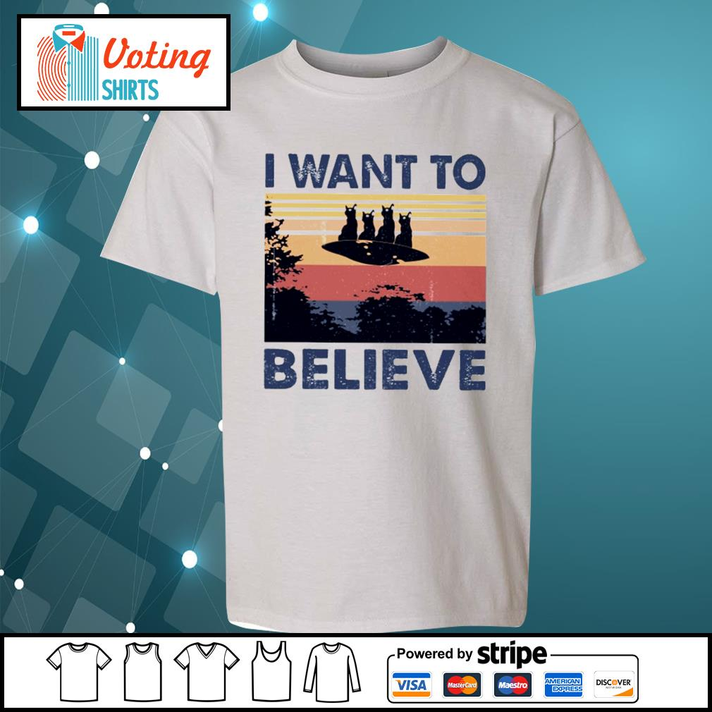 Cats UFO I want to believe vintage s youth-tee
