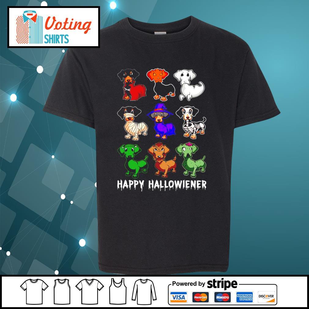 Dachshund Happy Hallowiener Halloween s youth-tee