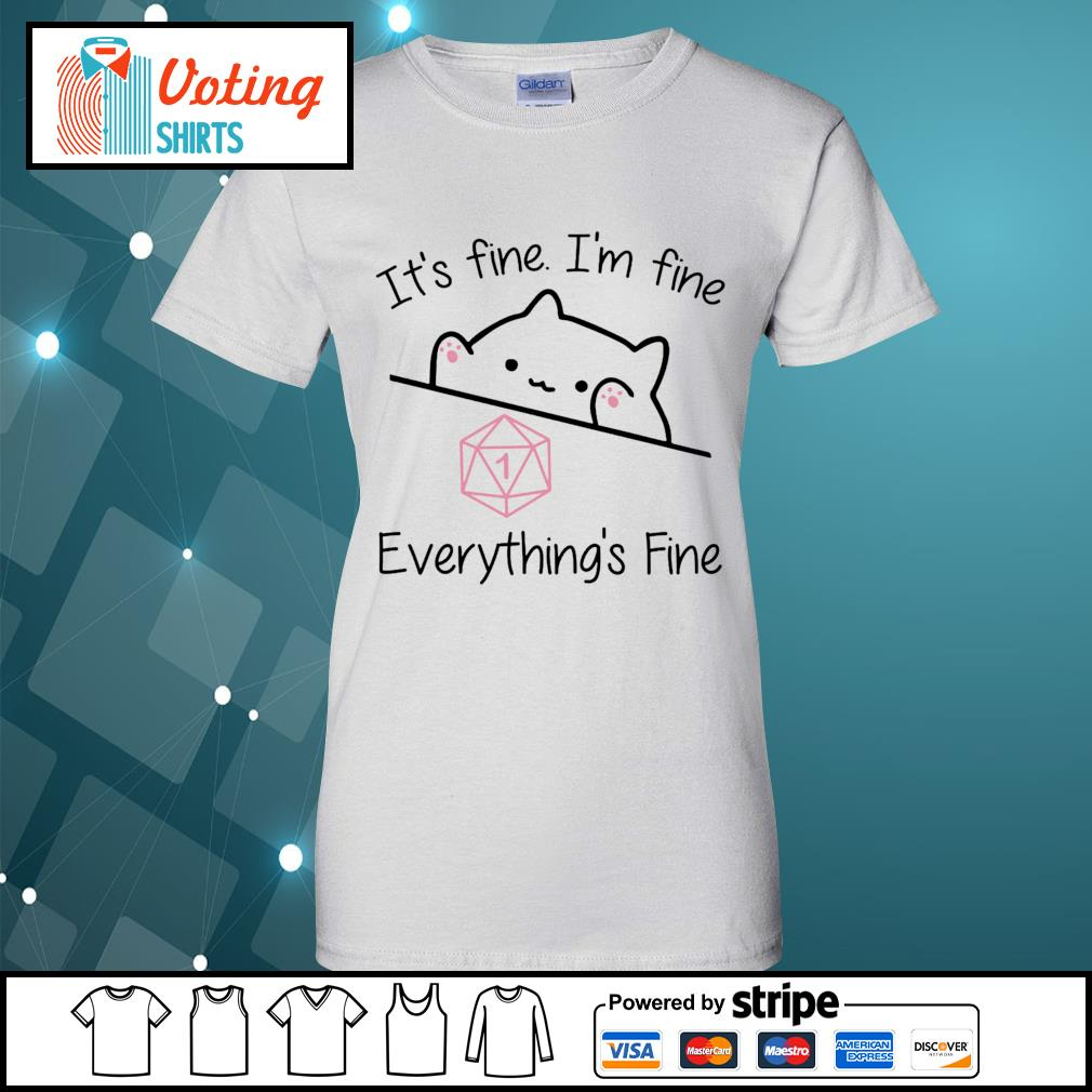 Dungeon Meowster it_s fine I_m fine everything_s fine s ladies-tee