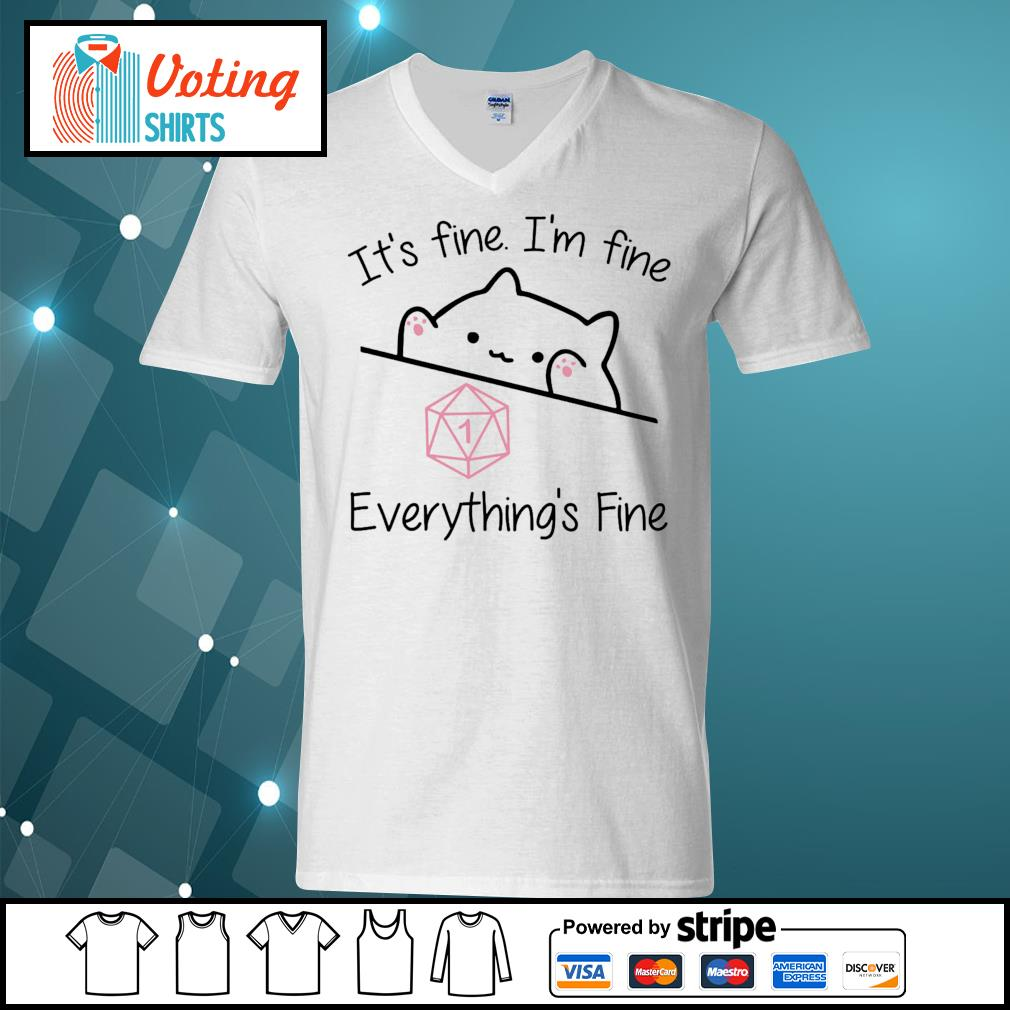 Dungeon Meowster it_s fine I_m fine everything_s fine s v-neck-t-shirt