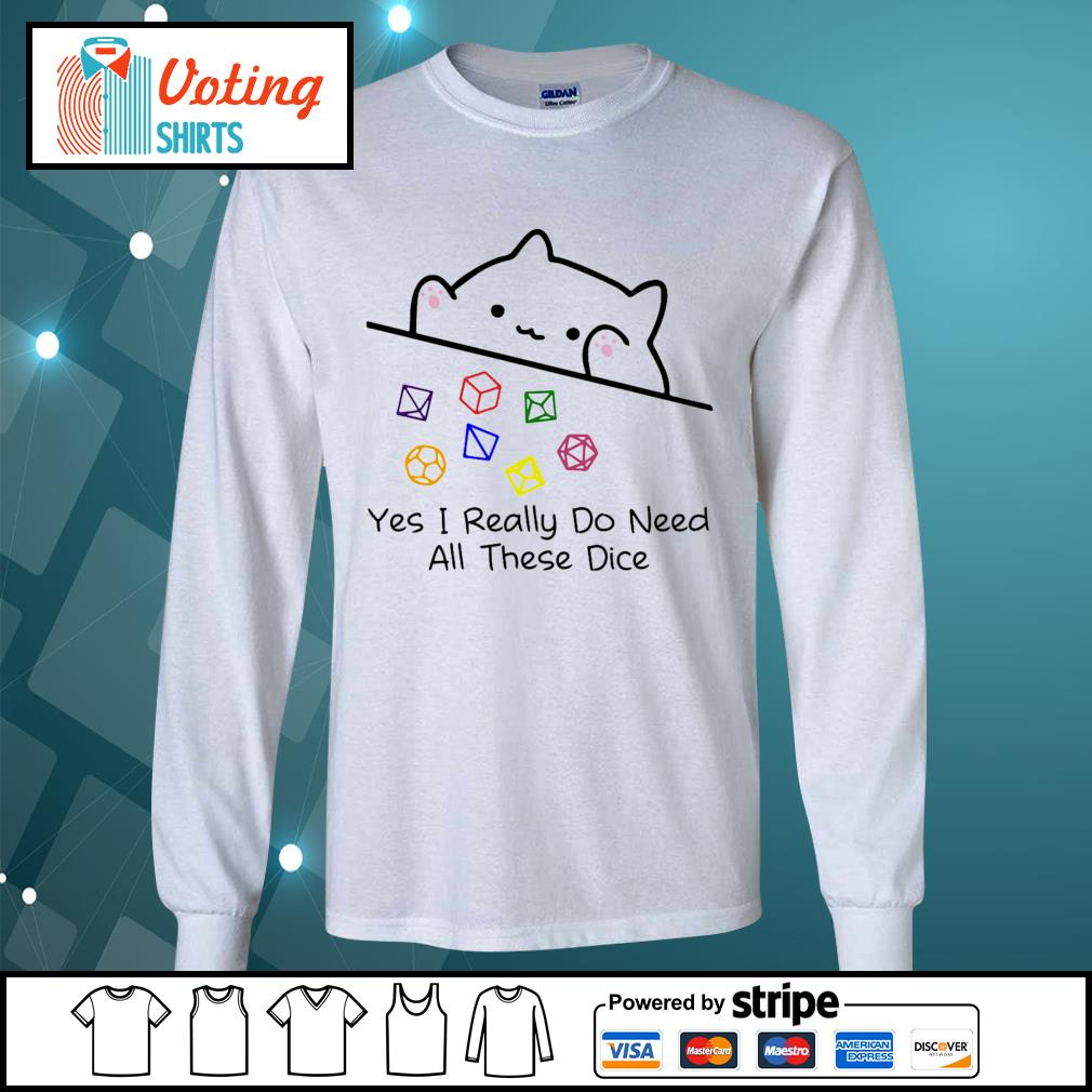 Dungeon Meowster yes I really do need all these dice s longsleeve-tee
