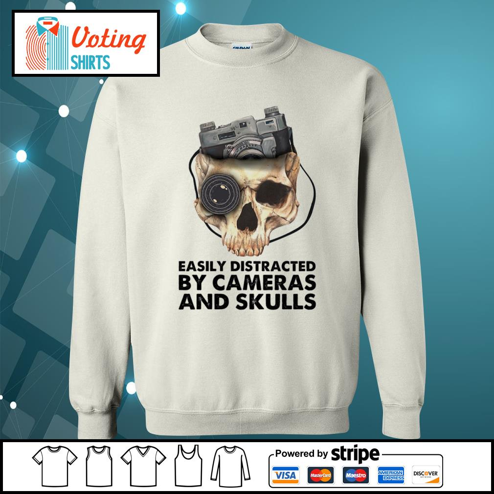 Easily distracted by cameras and skulls s sweater