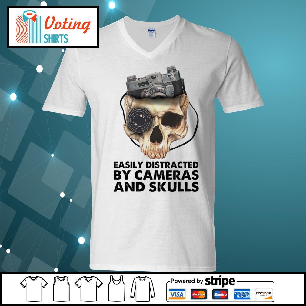 Easily distracted by cameras and skulls s v-neck-t-shirt