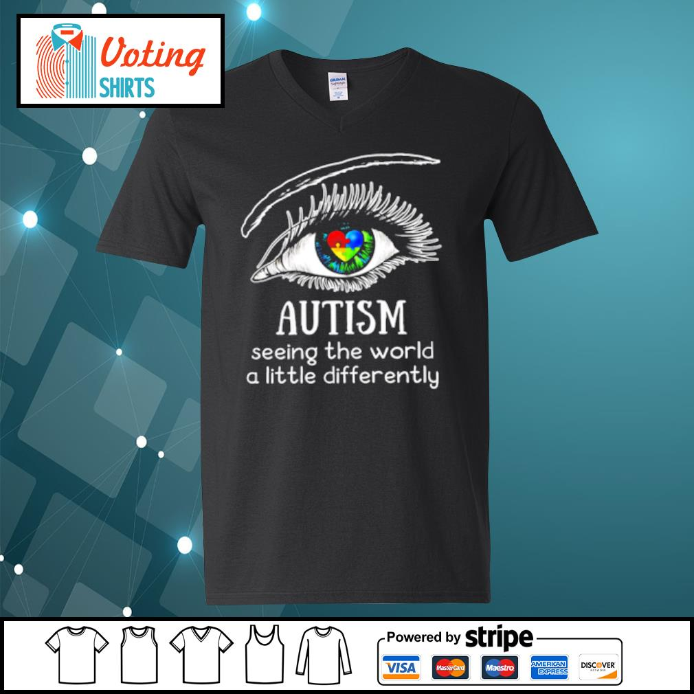 Eyes Autism seeing the world a little differently s v-neck-t-shirt