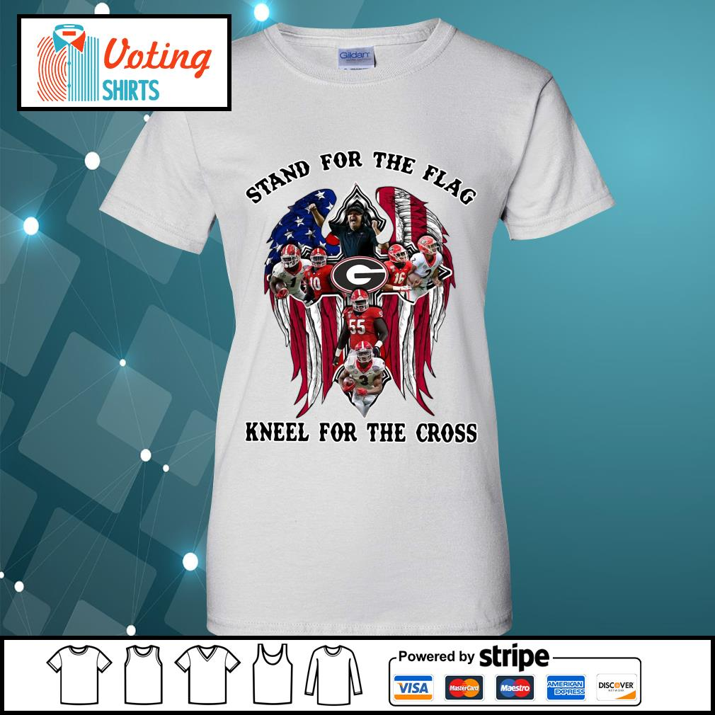 Georgia Bulldogs stand for the flag kneel for the cross s ladies-tee
