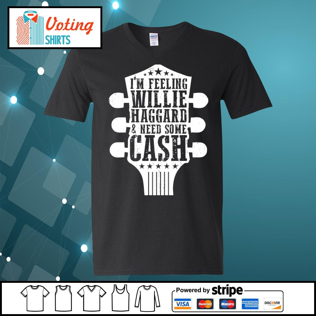 Guitar I'm feeling willie haggard and need some cash s v-neck-t-shirt