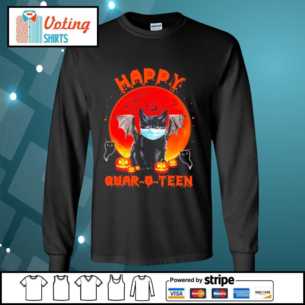 Halloween cat devil face mask happy Quar O Teen s longsleeve-tee