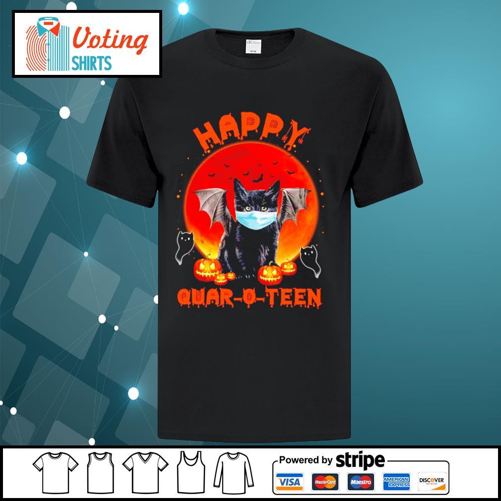 Halloween cat devil face mask happy Quar O Teen shirt