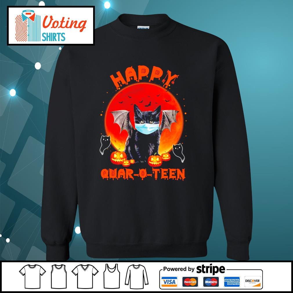 Halloween cat devil face mask happy Quar O Teen s sweater