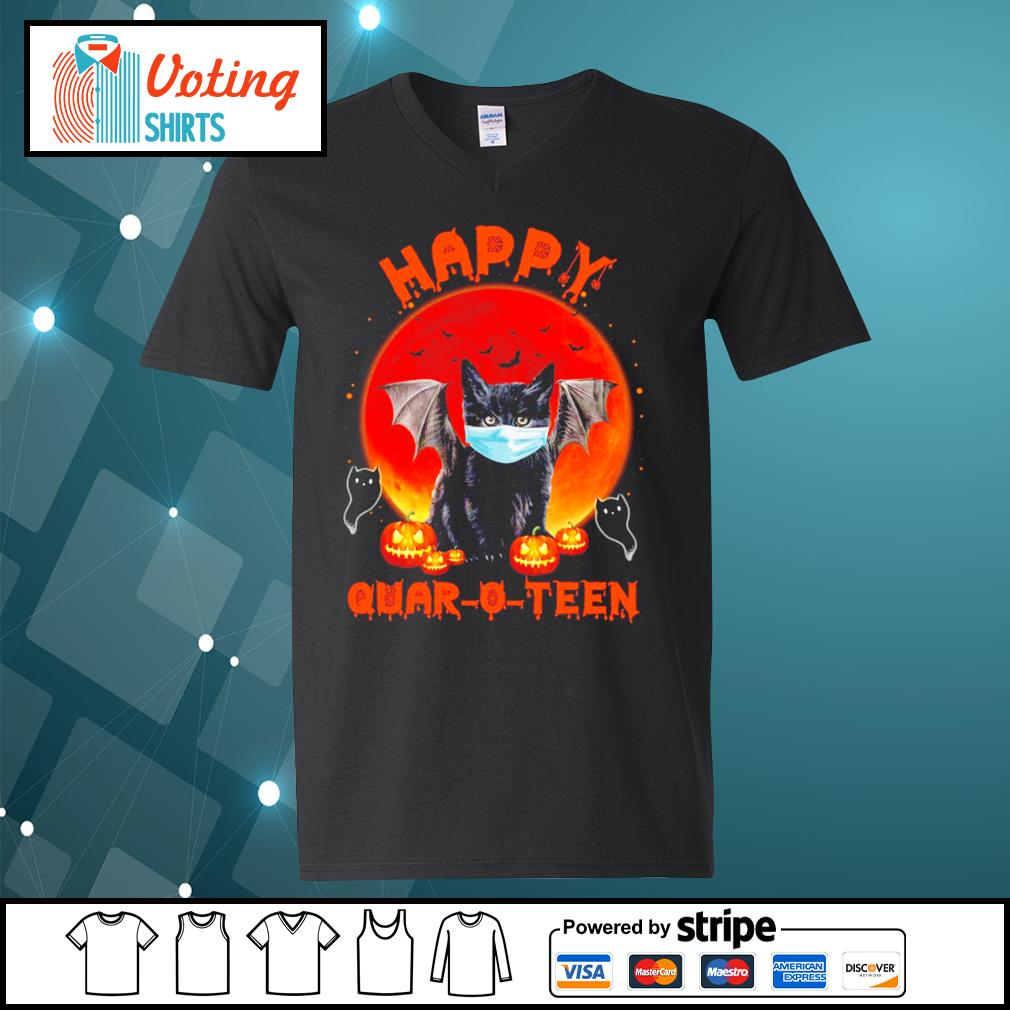 Halloween cat devil face mask happy Quar O Teen s v-neck-t-shirt