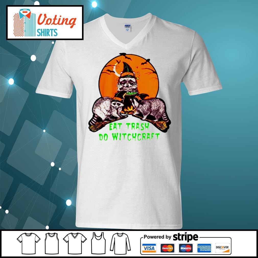 Halloween eat trash do witchcraft s v-neck-t-shirt