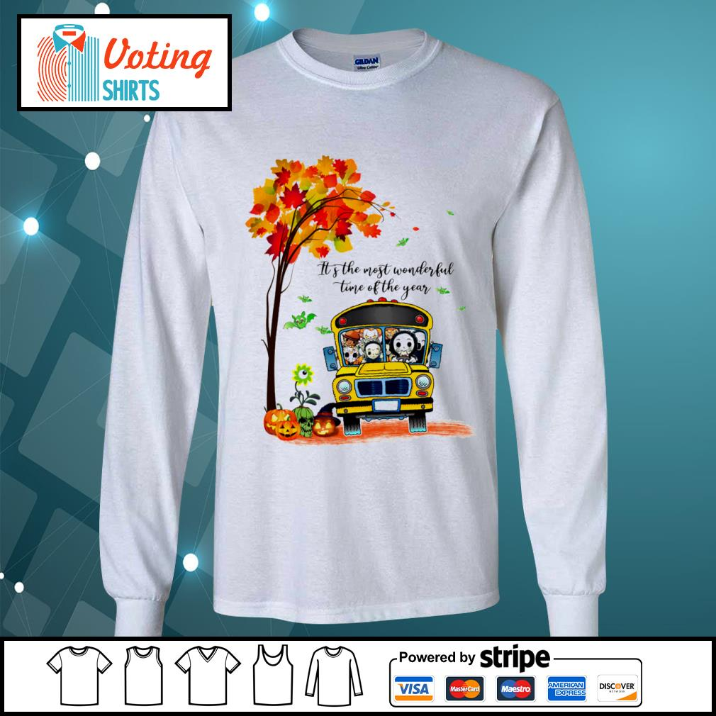 Halloween horror movies characters school bus it's the most wonderful time of the year s longsleeve-tee