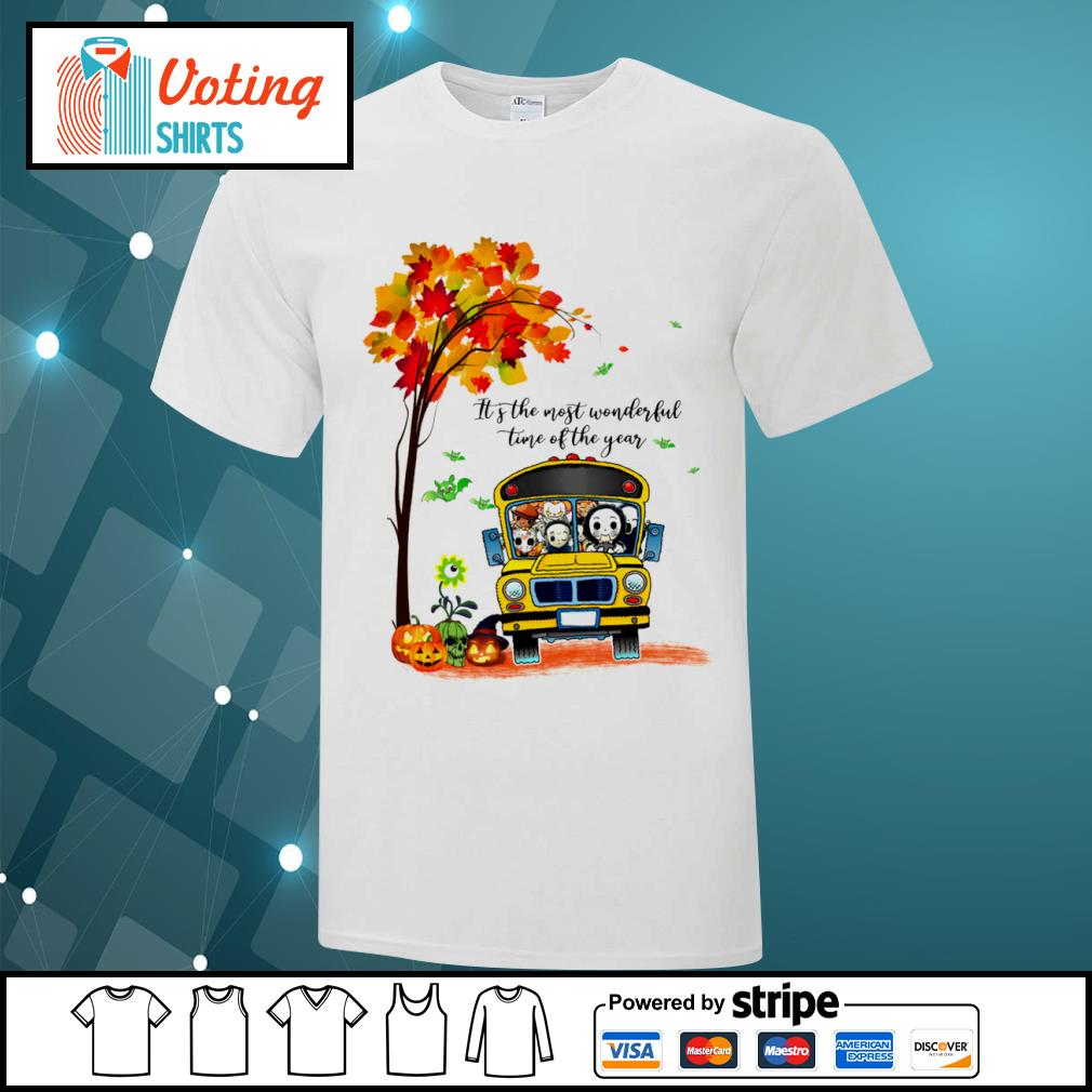 Halloween horror movies characters school bus it's the most wonderful time of the year shirt