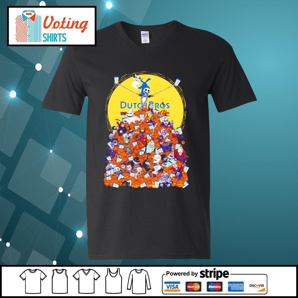 Halloween Skellington Dutch Bros coffee s v-neck-t-shirt