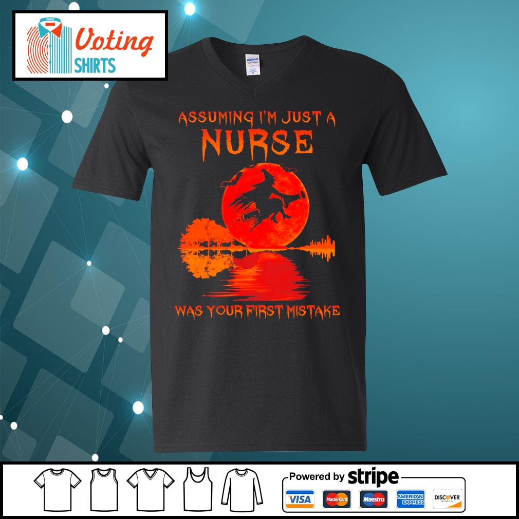 Halloween Witch assuming I_m just a nurse was your first mistake s v-neck-t-shirt