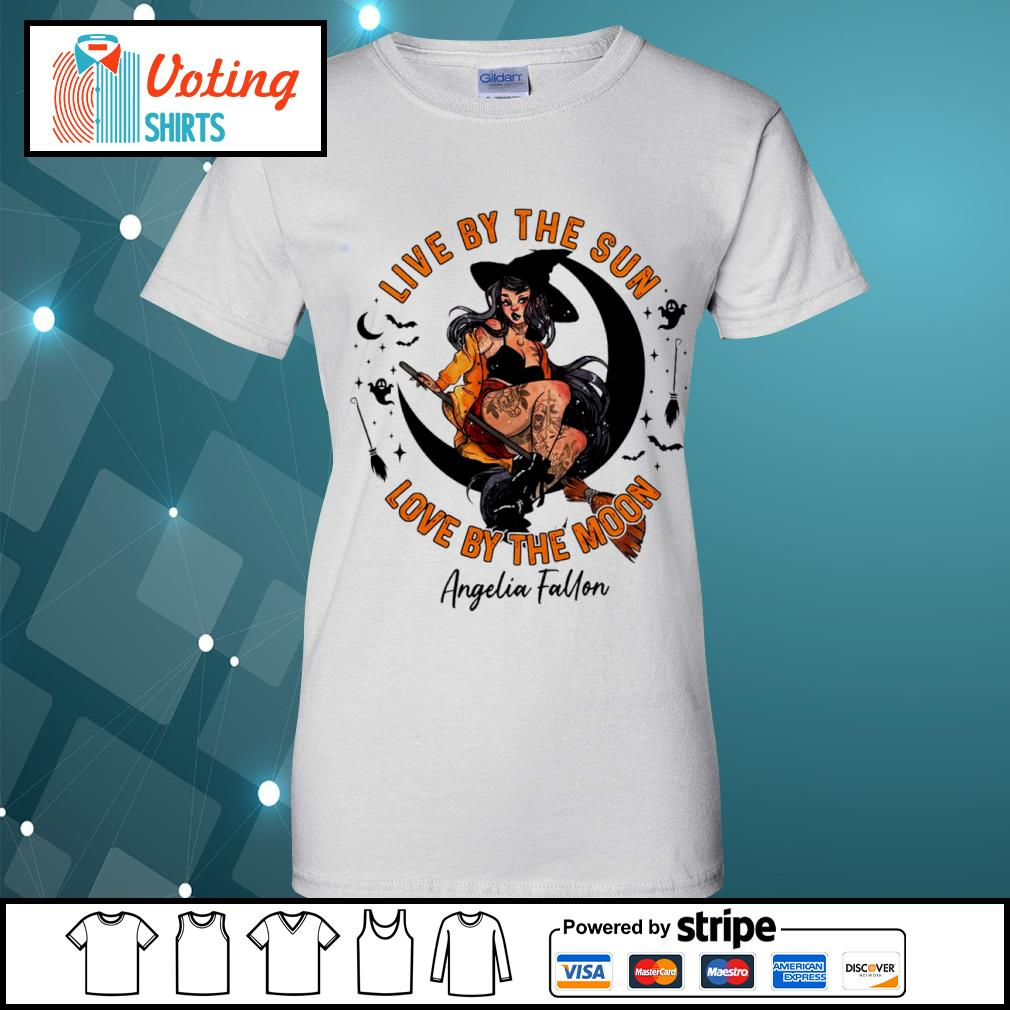 Halloween witch tattoo live by the sun love by the moon s ladies-tee