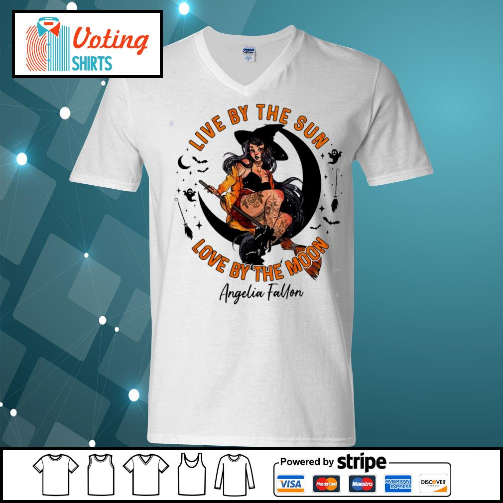 Halloween witch tattoo live by the sun love by the moon s v-neck-t-shirt