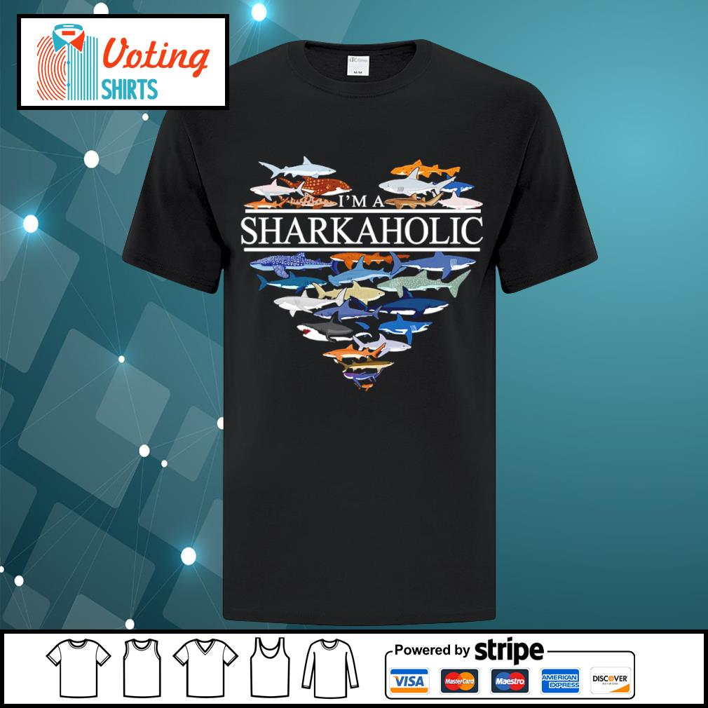 Heart love I'm a Sharkaholic shirt
