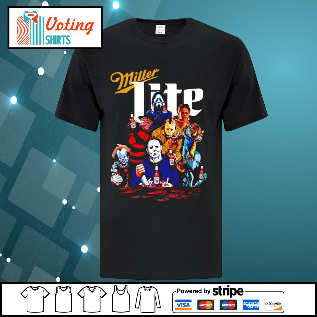 Horror Friends Pennywise Michael Myers Jason Voorhees Miller Lite shirt