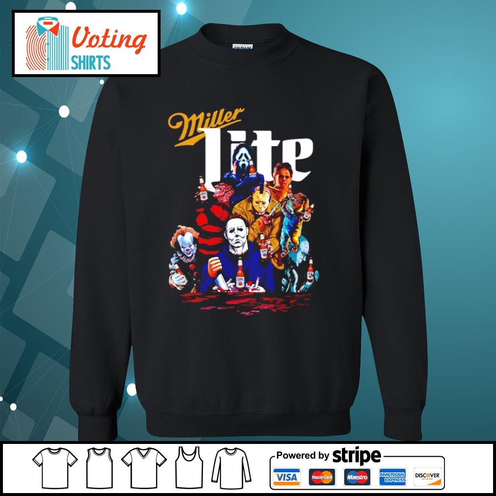 Horror Friends Pennywise Michael Myers Jason Voorhees Miller Lite s sweater
