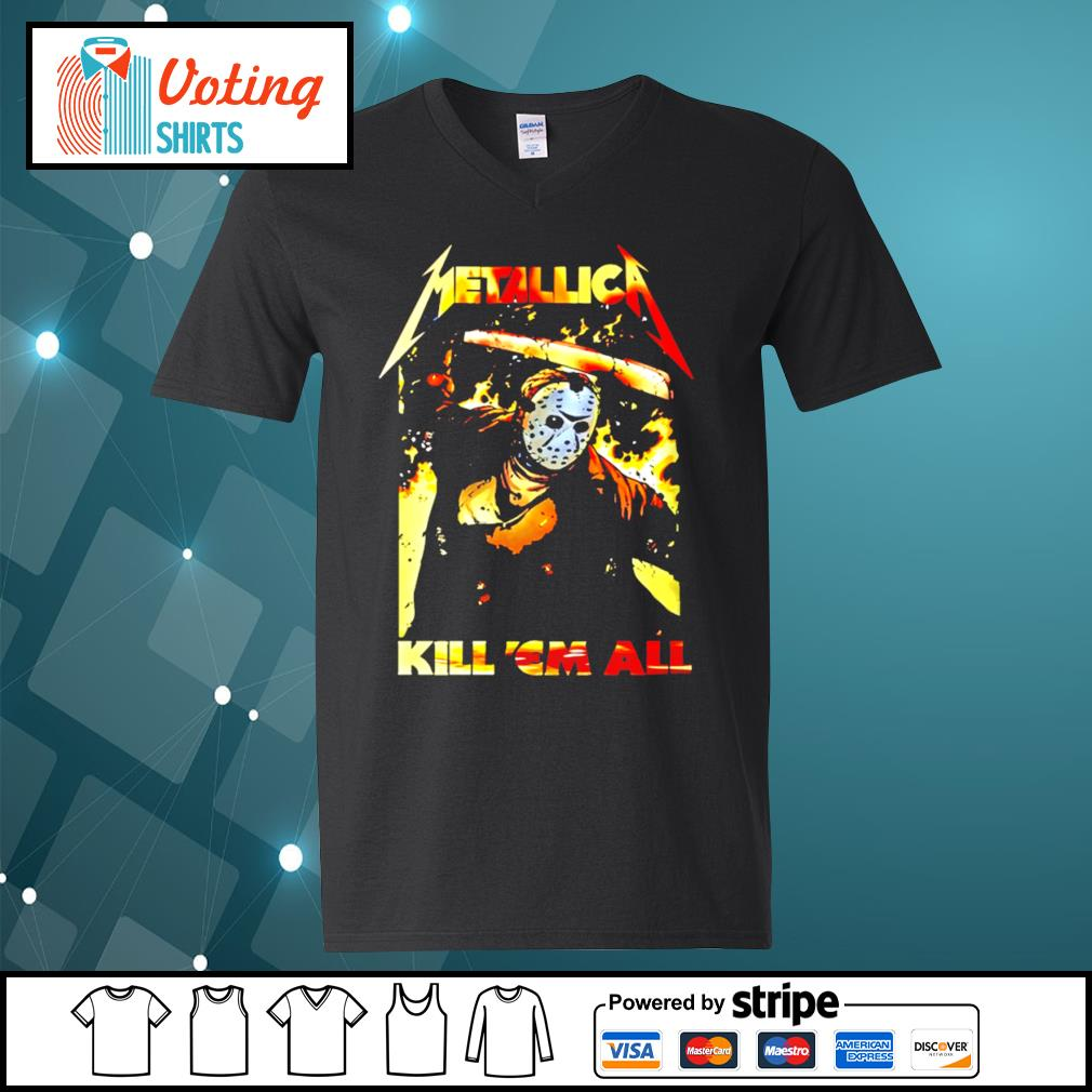 Horror movie Jason Voorhees metallica kill 'em all s v-neck-t-shirt