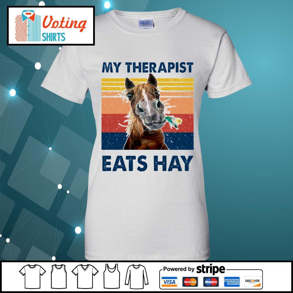 Horse my therapist eats hay vintage s ladies-tee