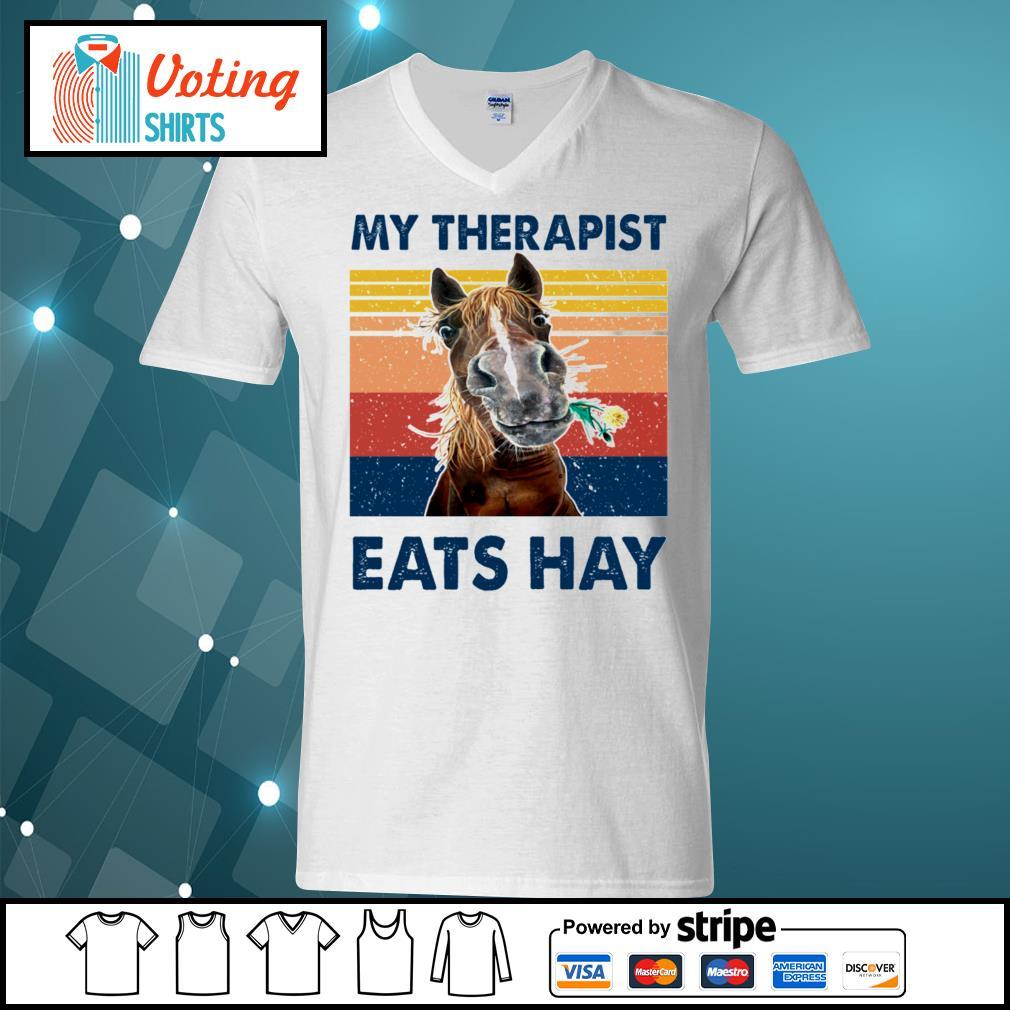Horse my therapist eats hay vintage s v-neck-t-shirt