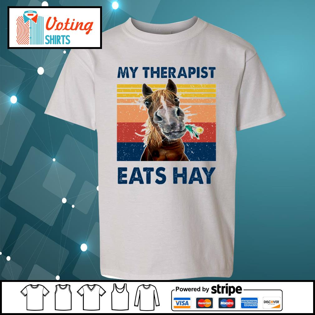 Horse my therapist eats hay vintage s youth-tee
