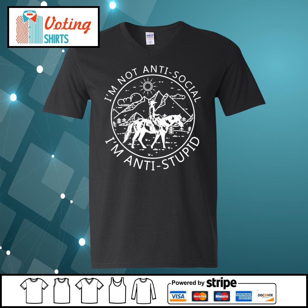 Riding horse I_m not anti-social I_m anti-stupid s v-neck-t-shirt