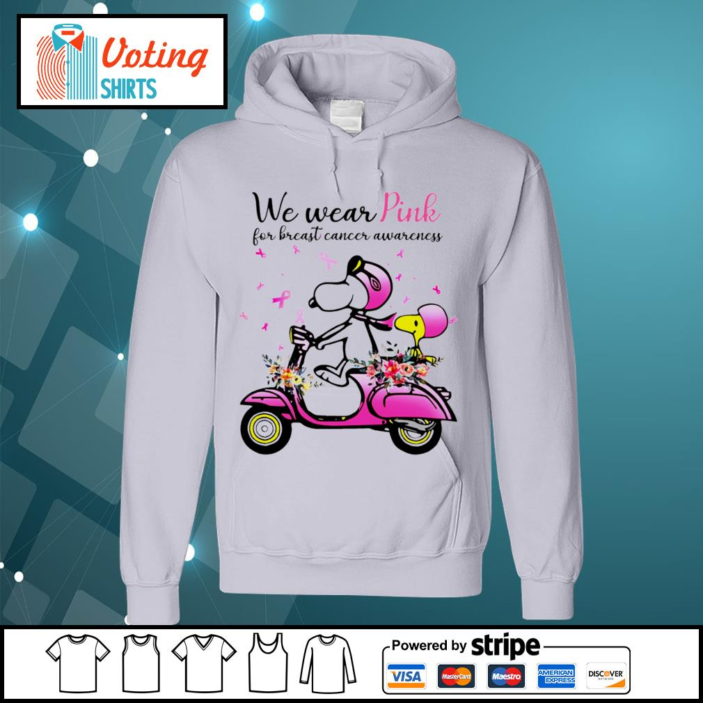 Snoopy and Peanuts we wear pink for breast cancer awareness s hoodie