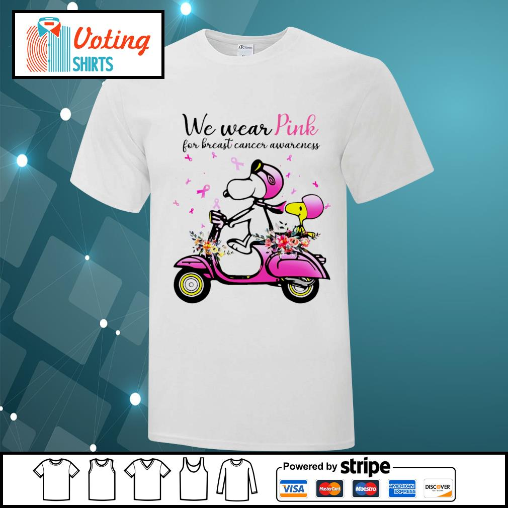 Snoopy and Peanuts we wear pink for breast cancer awareness shirt