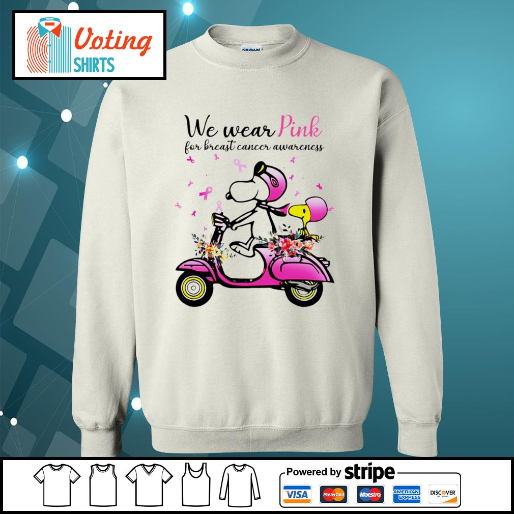 Snoopy and Peanuts we wear pink for breast cancer awareness s sweater