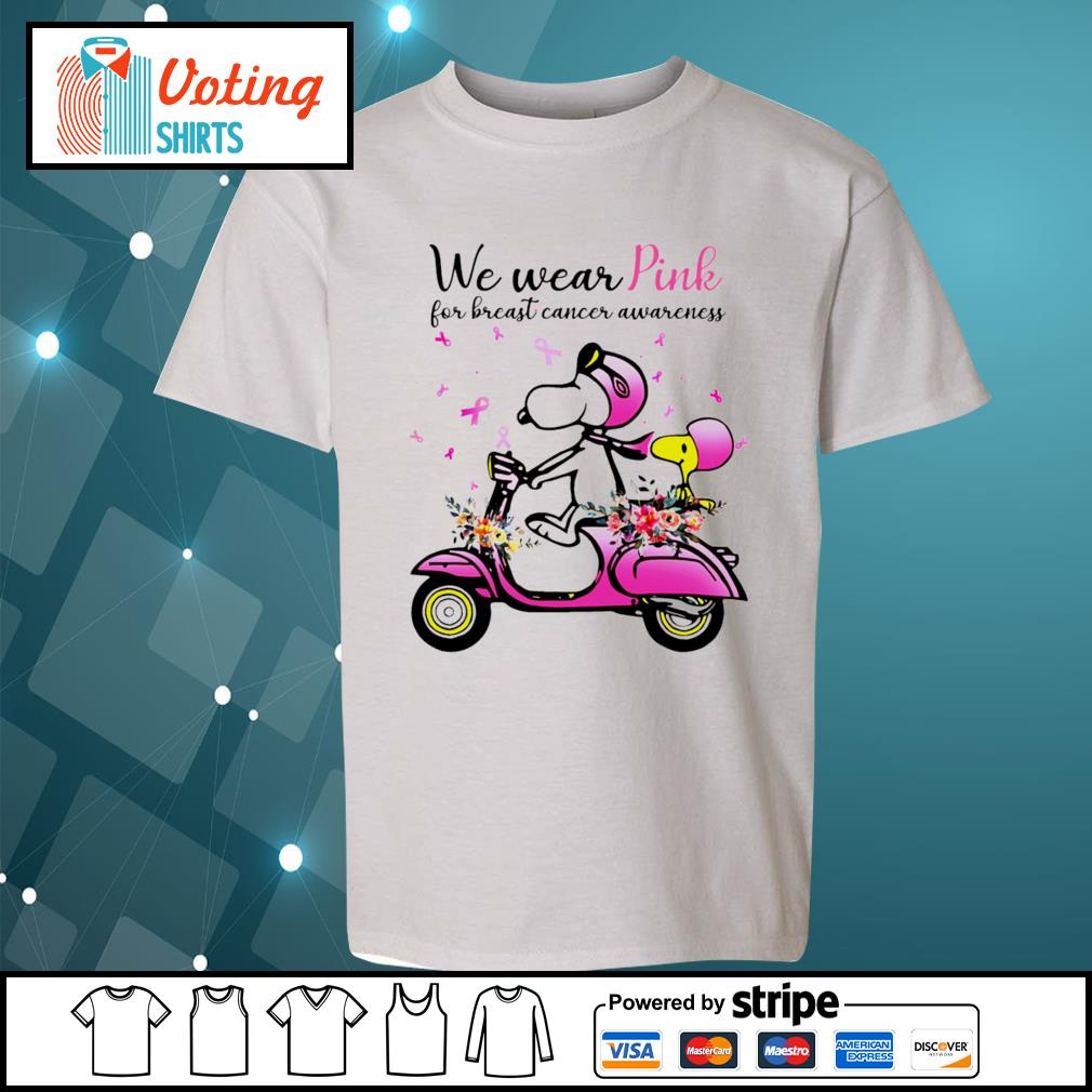 Snoopy and Peanuts we wear pink for breast cancer awareness s youth-tee