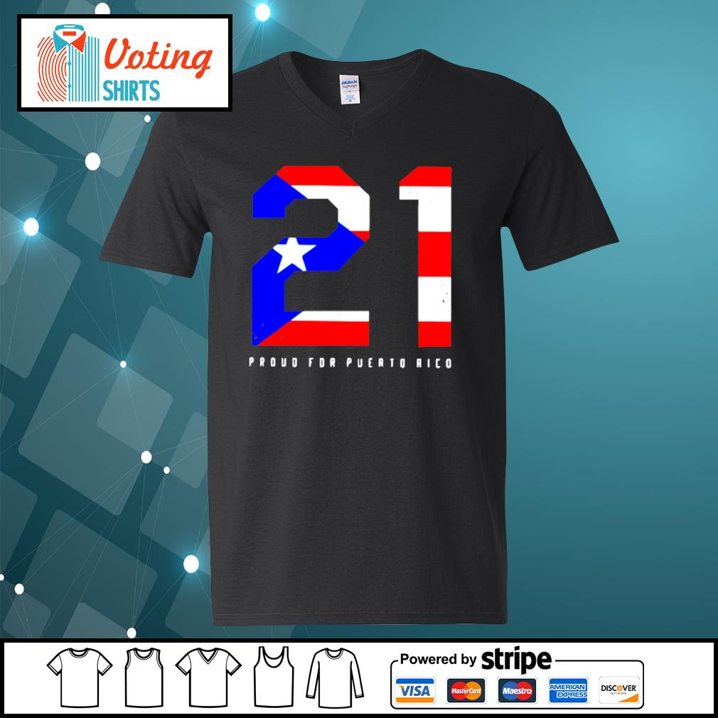 21 Proud for Puerto Rico American flag s v-neck-t-shirt