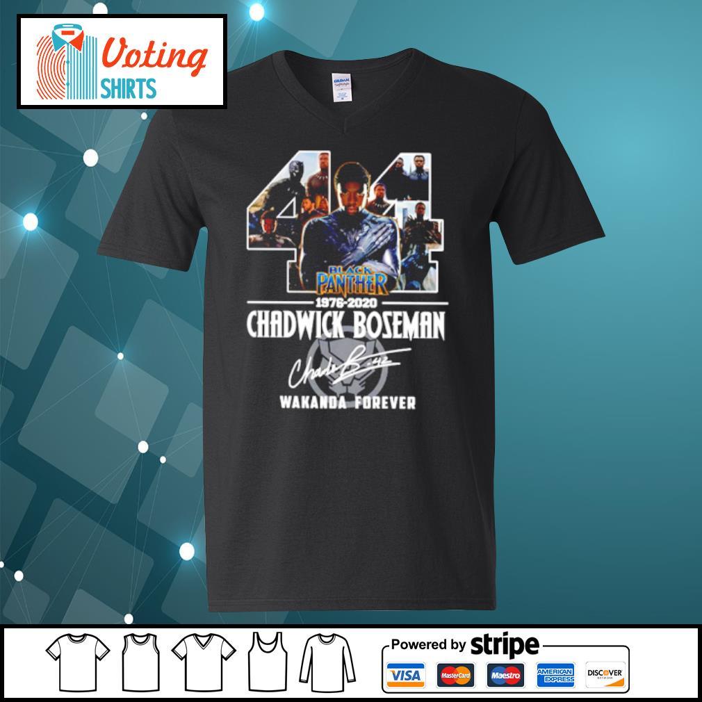 44 black panther 1976-2020 Chadwick Boseman Wakanda forever s v-neck-t-shirt