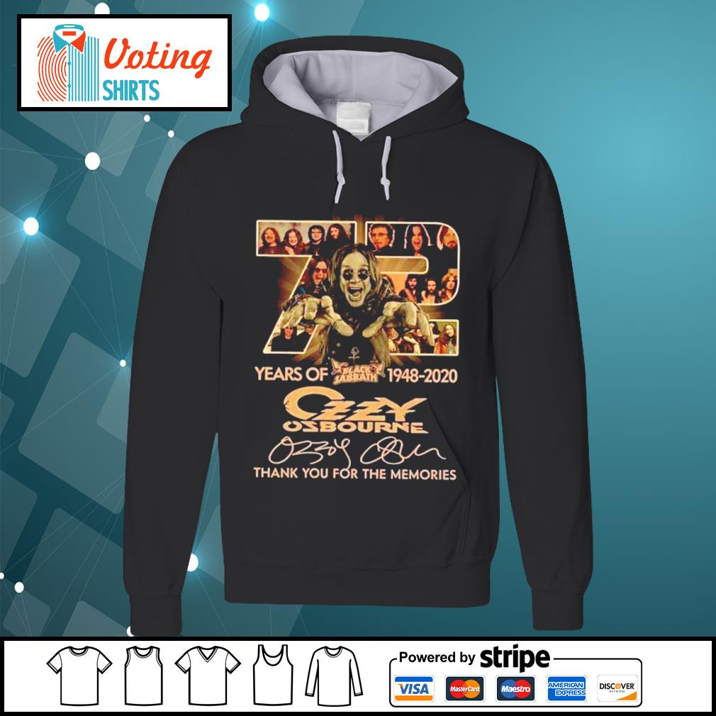 72 years of Black Sabbath 1948 2020 Ozzy Osbourne thank you for the memories s hoodie