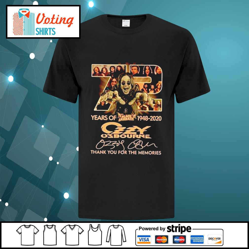 72 years of Black Sabbath 1948 2020 Ozzy Osbourne thank you for the memories shirt
