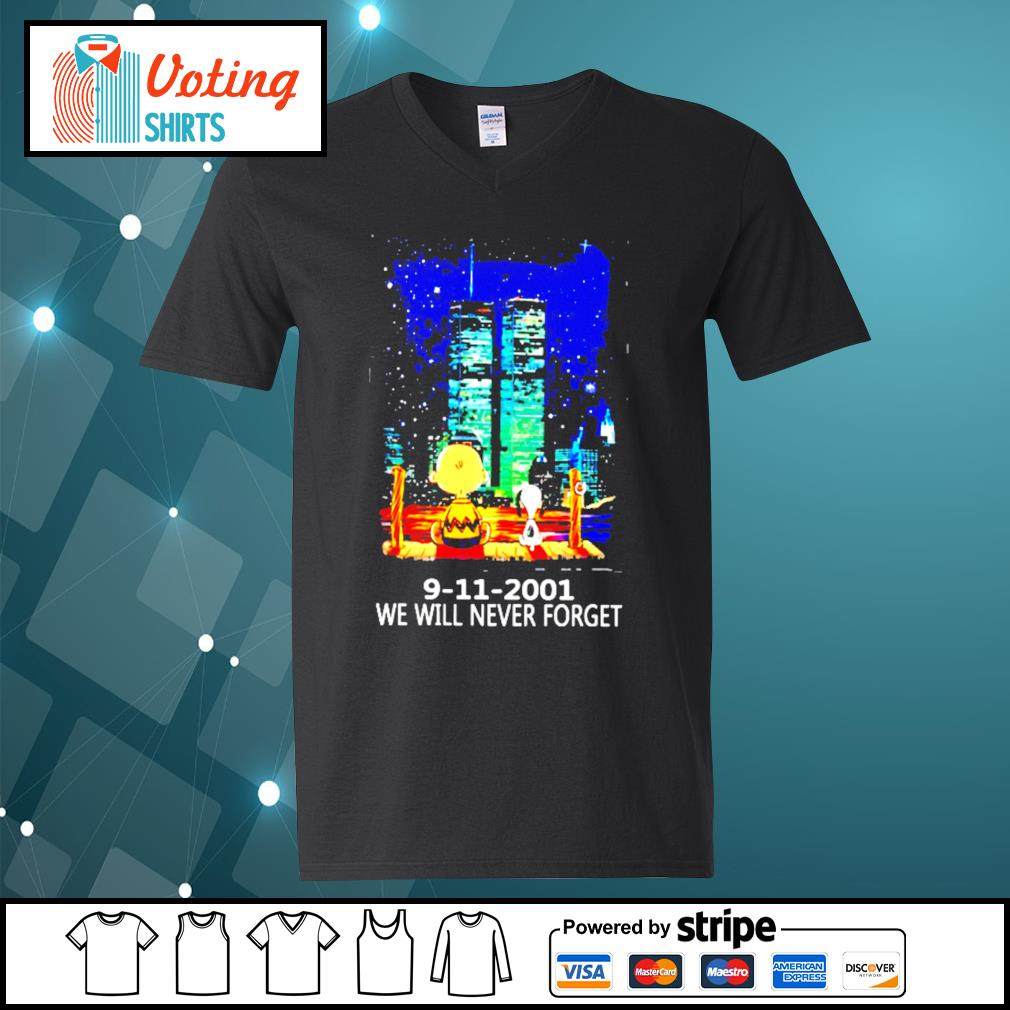 9 11 2001 we will never forget s v-neck-t-shirt