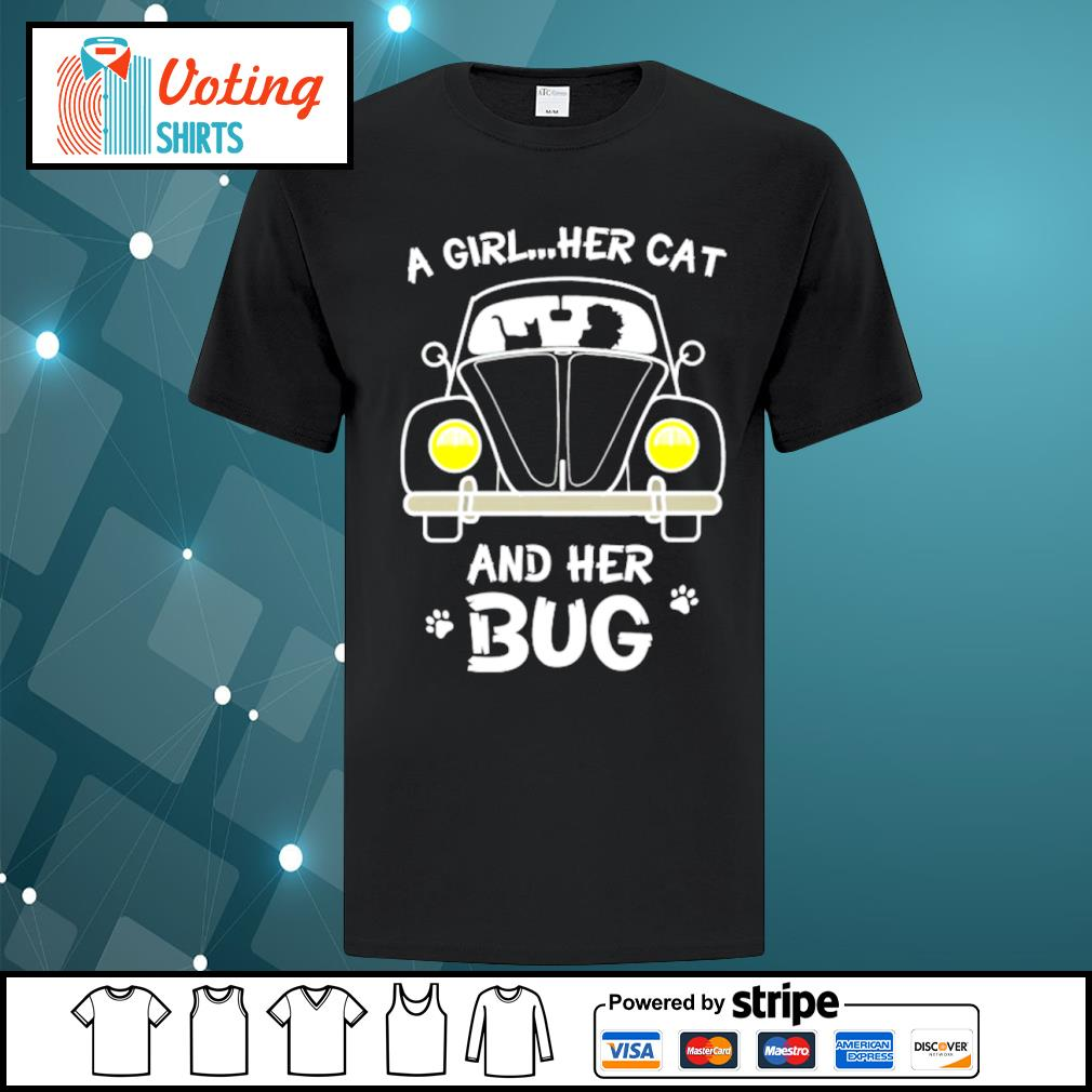 A girl her cat and her bug shirt