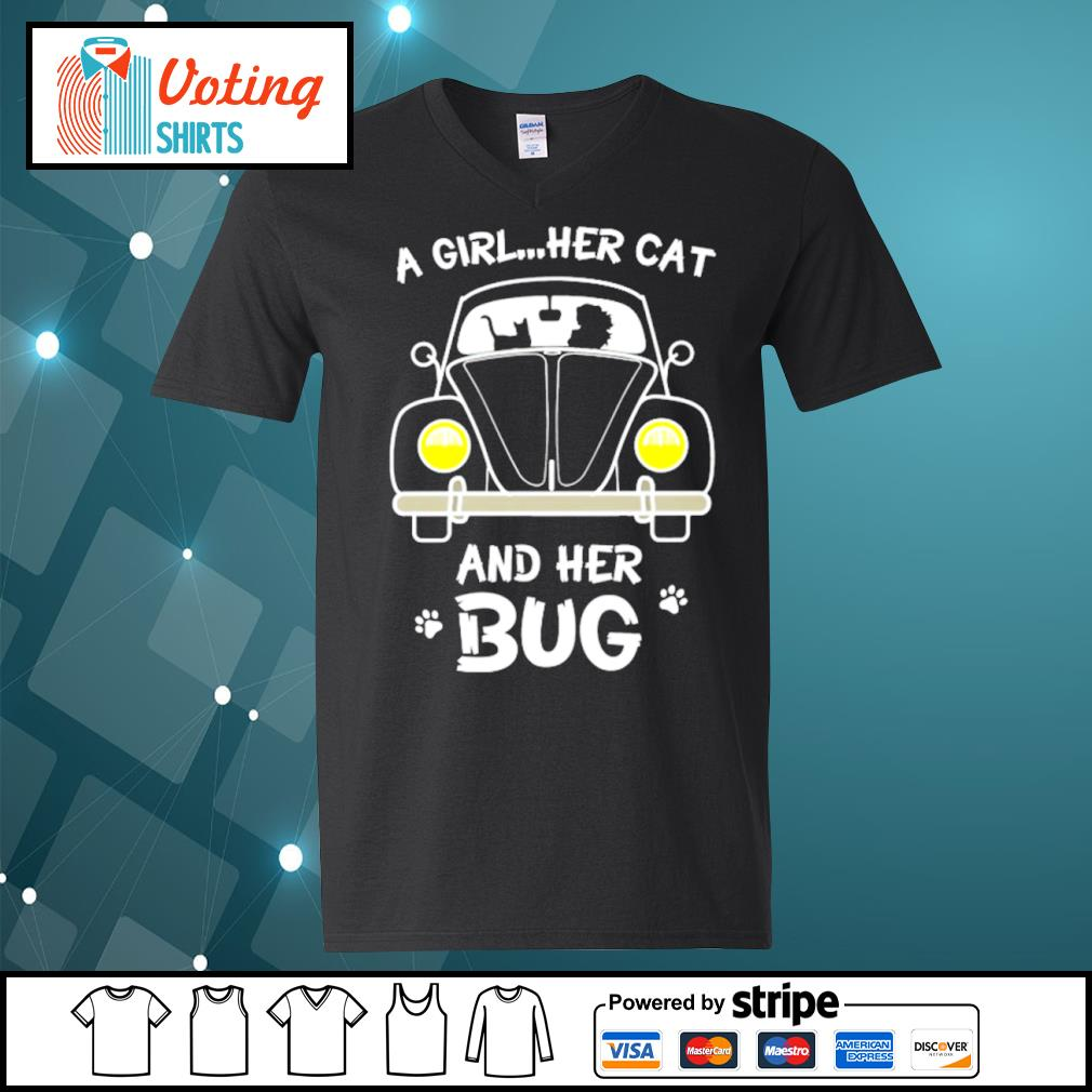 A girl her cat and her bug s v-neck-t-shirt