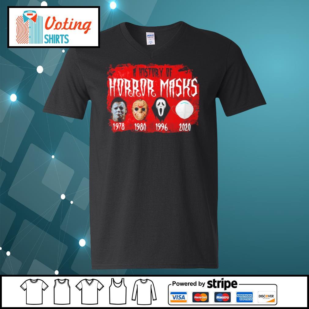 A history of horror masks Halloween social distancing s v-neck-t-shirt