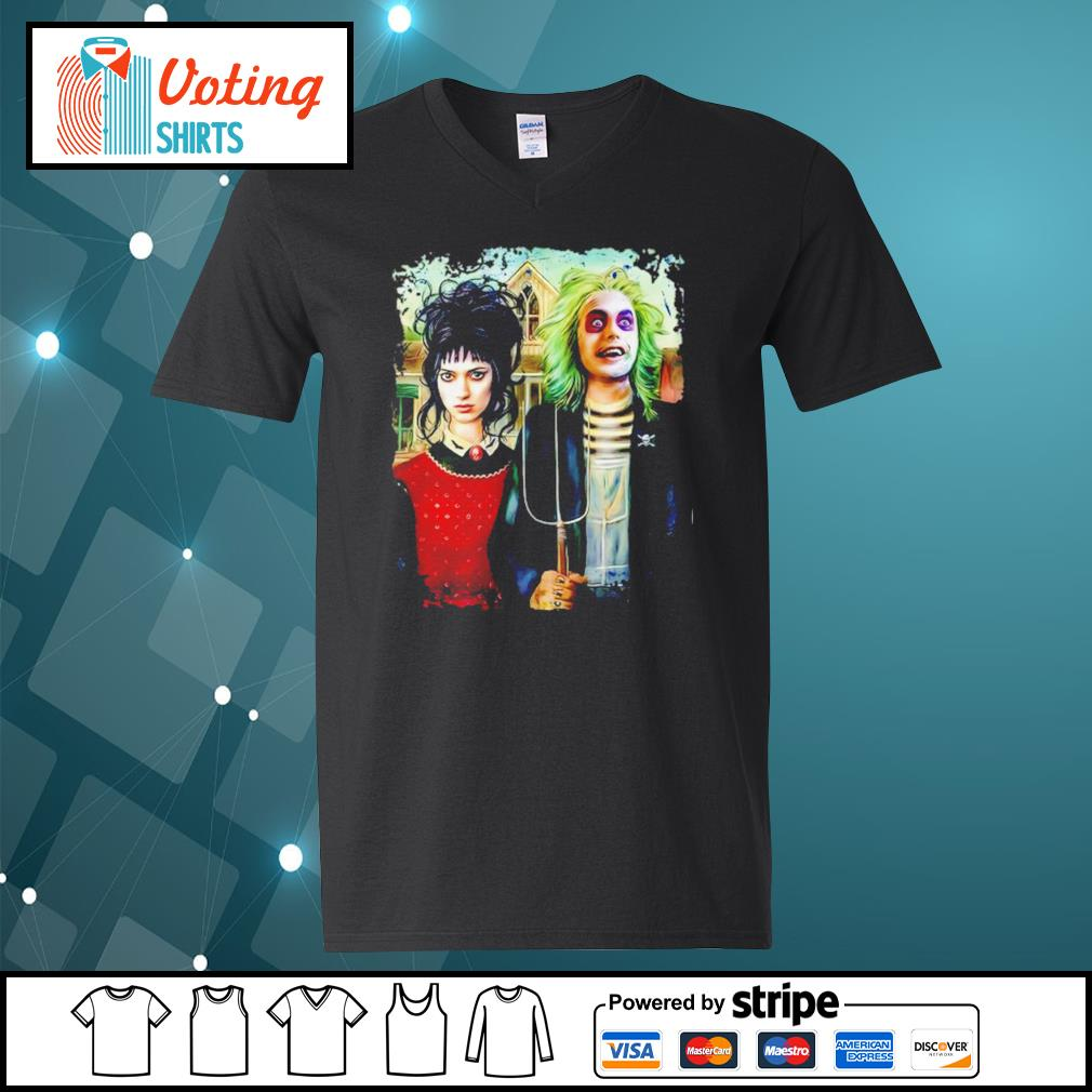 American Gothic Beetlejuice and Lydia s v-neck-t-shirt
