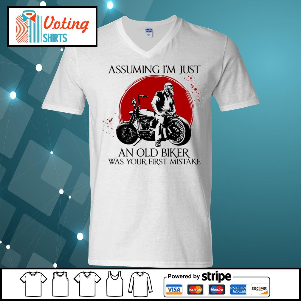 Assuming I'm just an old biker was your first mistake s v-neck-t-shirt