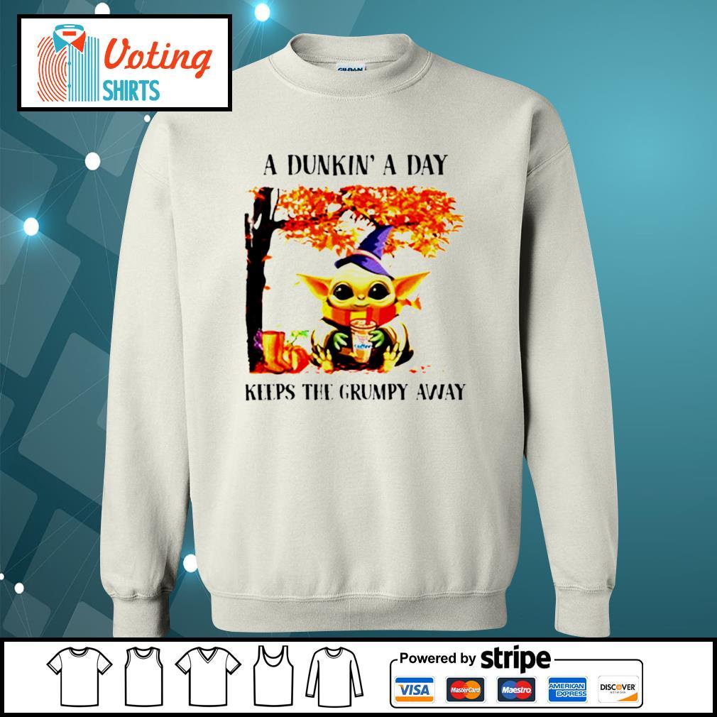 Baby Yoda a dunkin' a day keeps the grumpy away Halloween tree s sweater