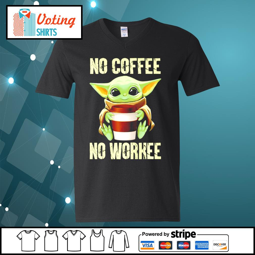 Baby Yoda no coffee no workee s v-neck-t-shirt