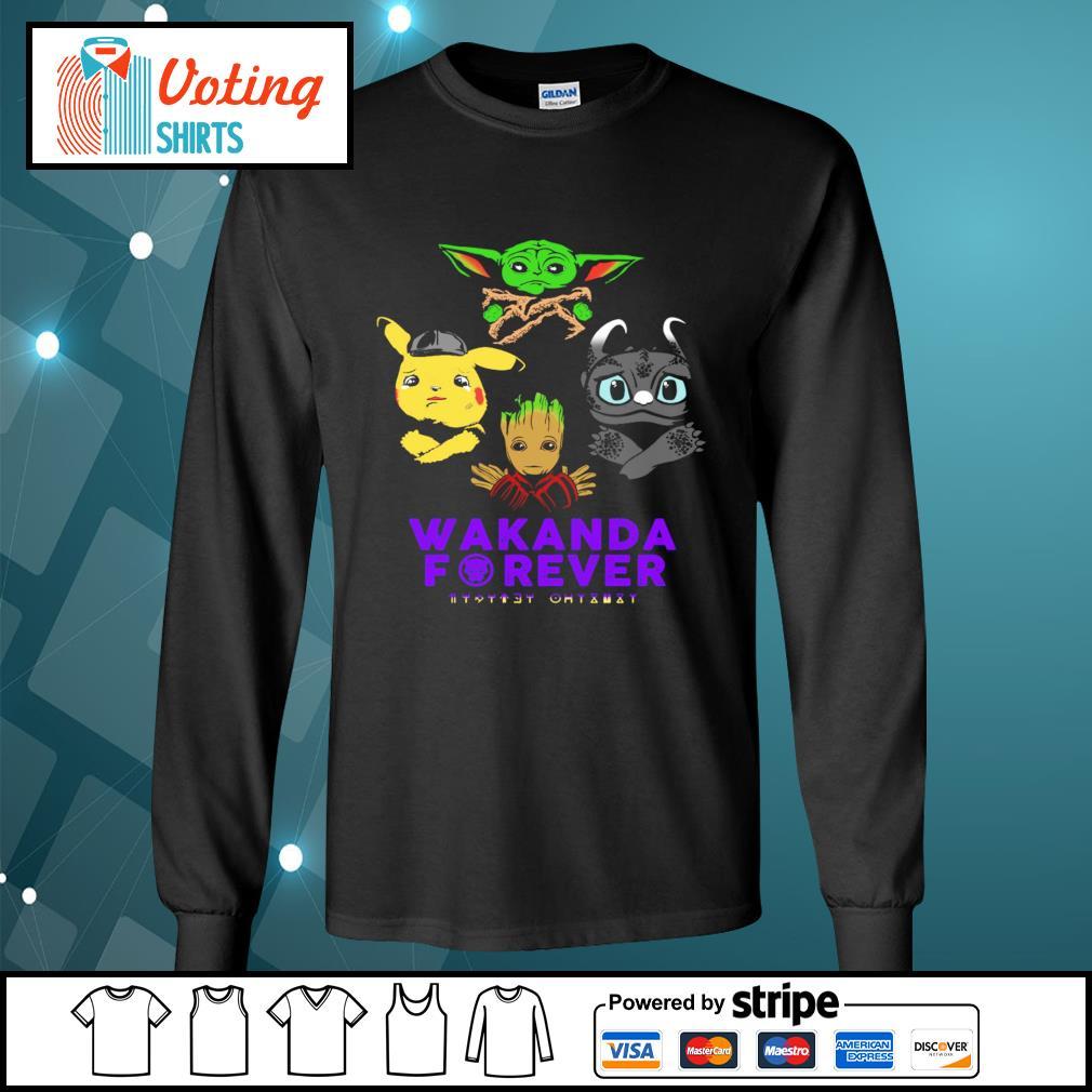 Baby yoda pikachu baby groot night fury wakanda forever s longsleeve-tee