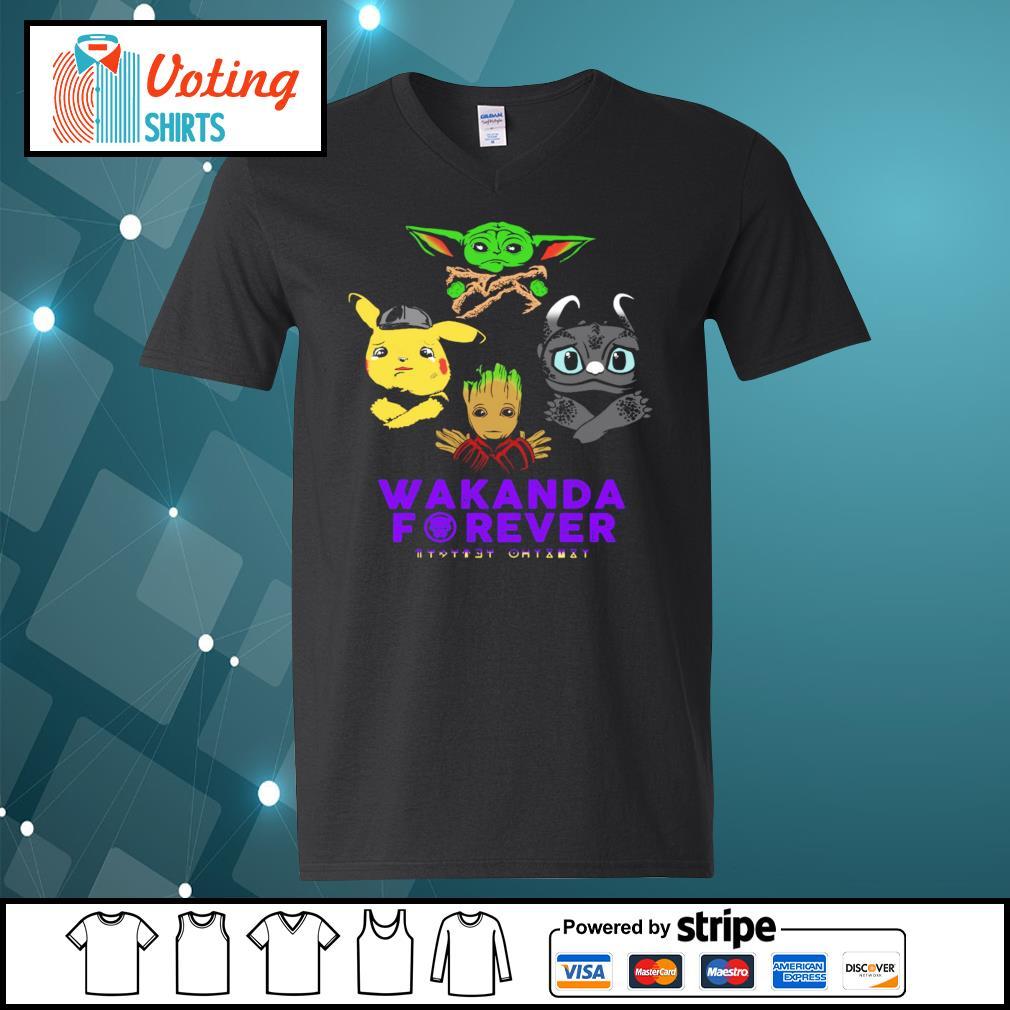 Baby yoda pikachu baby groot night fury wakanda forever s v-neck-t-shirt