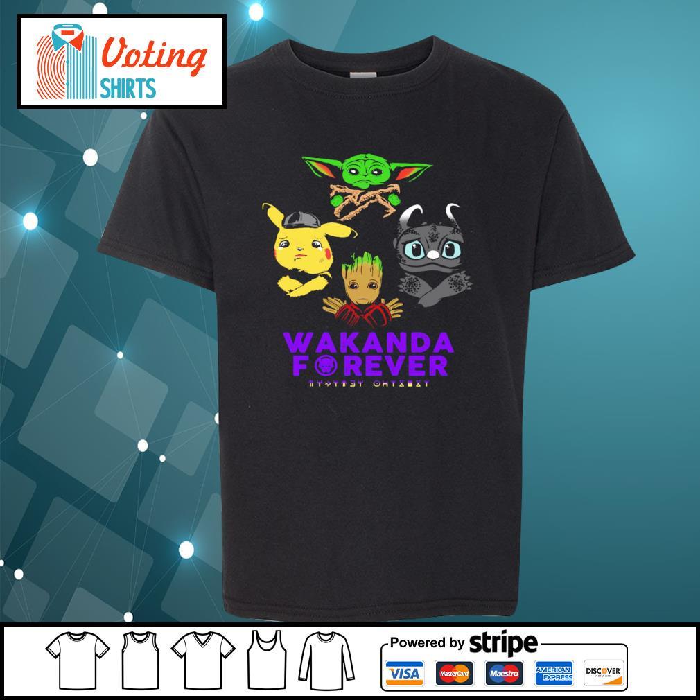Baby yoda pikachu baby groot night fury wakanda forever s youth-tee