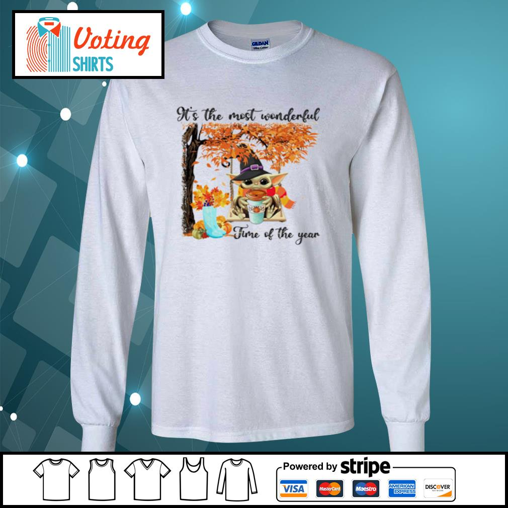 Baby Yoda Pumpkin Latte It's the most wonderful time of the year s longsleeve-tee